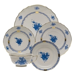 Herend Chinese Bouquet Blue Five Piece Place Setting