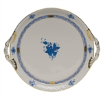 Herend Chinese Bouquet Blue Round Tray With Handles