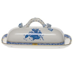 Herend Chinese Bouquet Blue Covered Butter Dish With Branch