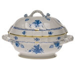 Herend Chinese Bouquet Blue Tureen With Branch Handles