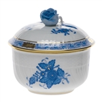 Herend Chinese Bouquet Blue Covered Sugar With Rose