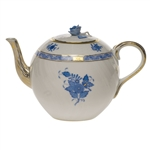 Herend Chinese Bouquet Blue Tea Pot With Rose