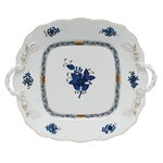 Herend Chinese Bouquet Black Sapphire Square Cake Plate with Handles
