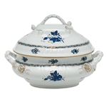 Herend Chinese Bouquet Black Sapphire Tureen with Branch Handles