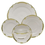 Herend Princess Victoria Green Five Piece Place Setting