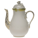 Herend Princess Victoria Green Coffee Pot With Rose