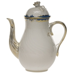 Herend Princess Victoria Blue Coffee Pot With Rose