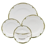 Herend Princess Victoria Dark Green Five Piece Place Setting