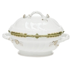 Herend Princess Victoria Dark Green Tureen With Branch Handles
