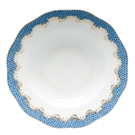 Herend Fish Scale Blue Border Rim Soup Plate