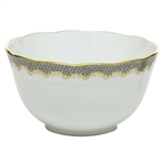 Herend Fish Scale Gray Border Round Serving Bowl