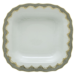 Herend Fish Scale Gray Border Square Fruit Dish