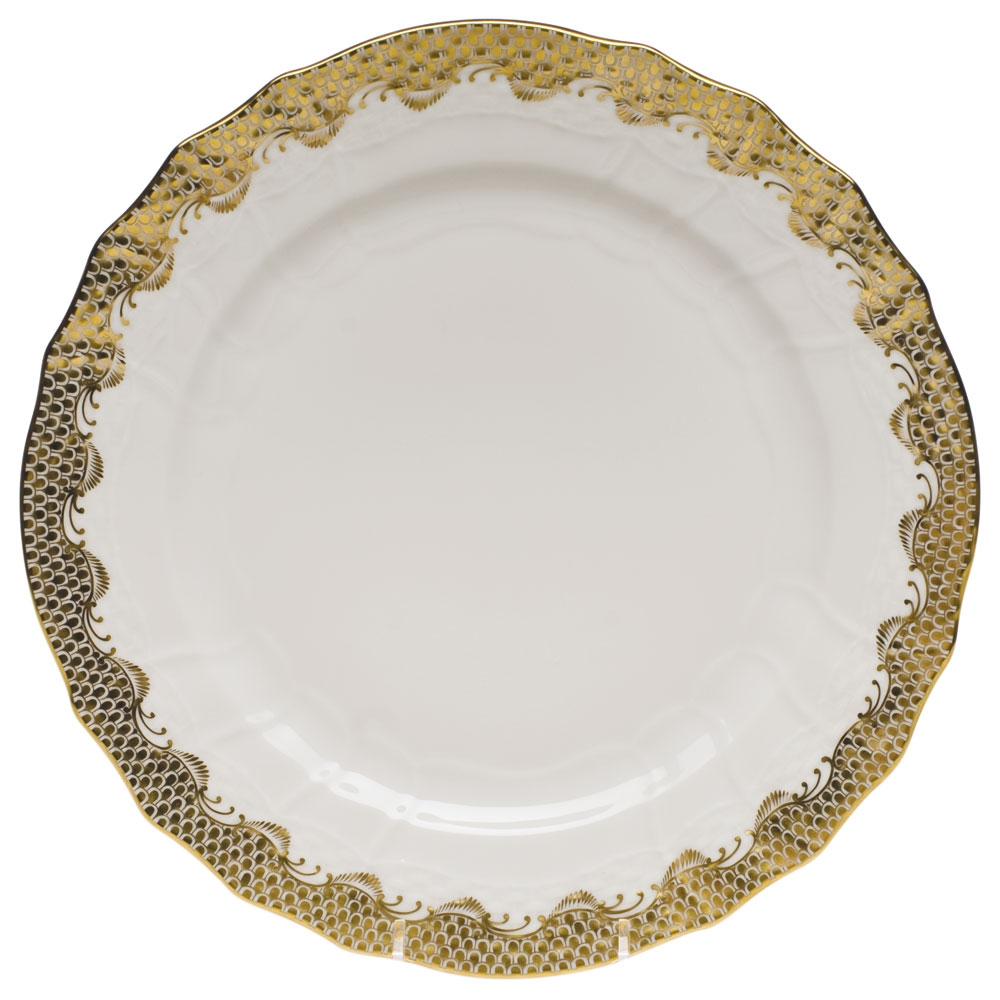 Herend Fish Scale Gold Service Plate At Herendstore