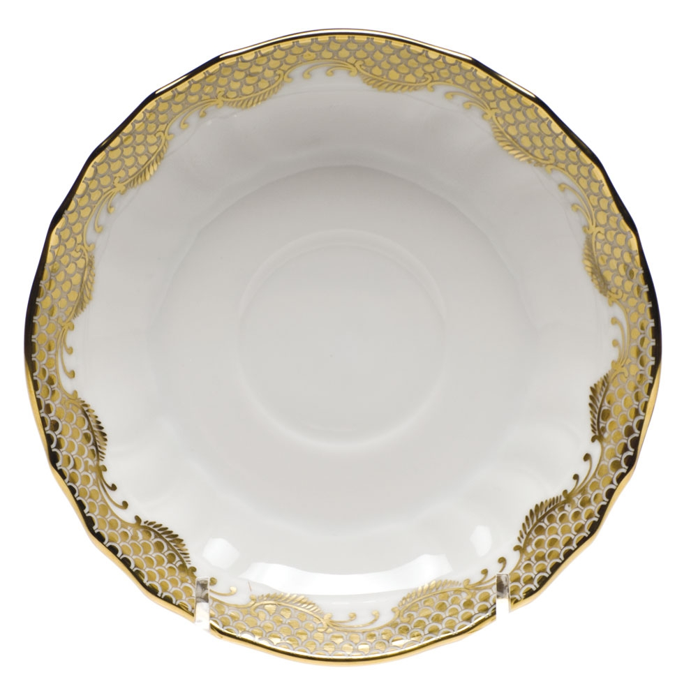Herend fish scale gold canton saucer at herendstore for Fish scale coke prices