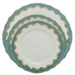 Herend Fish Scale Turquoise Border Dinner, Bread and Butter and Salad Plate Set