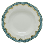 Herend Fish Scale Turquoise Border Rim Soup Plate