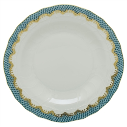 Herend Fish Scale Turquoise Border Dessert Plate