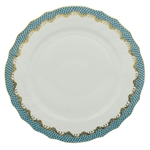 Herend Fish Scale Turquoise Border Dinner Plate