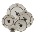 Herend Chinese Bouquet Black Five Piece Place Setting