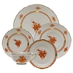 Herend Chinese Bouquet Rust Five Piece Place Setting