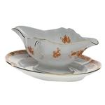 Herend Chinese Bouquet Rust Gravy Boat