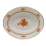 Herend Chinese Bouquet Rust Oval Vegetable Dish