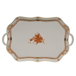 Herend Chinese Bouquet Rust Rectangular Tray