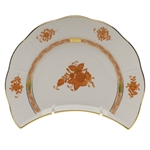 Herend Chinese Bouquet Rust Crescent Salad Plate