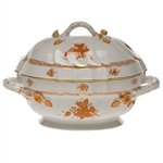 Herend Chinese Bouquet Rust Tureen With Branch Handles