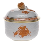 Herend Chinese Bouquet Rust Covered Sugar With Rose