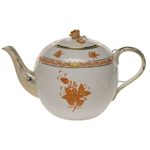 Herend Chinese Bouquet Rust Tea Pot With Rose