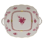 Herend Chinese Bouquet Raspberry Square Cake Plate