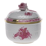 Herend Chinese Bouquet Raspberry Covered Sugar With Rose
