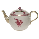 Herend Chinese Bouquet Raspberry Tea Pot With Rose