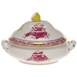 Herend Chinese Bouquet Raspberry Mini Tureen With Lemon