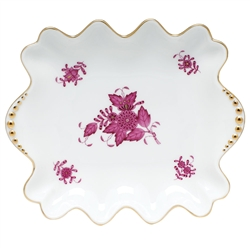 Herend Chinese Bouquet Raspberry Small Dish With Pearls