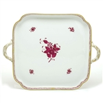 Herend Chinese Bouquet Raspberry Square Tray with Handles