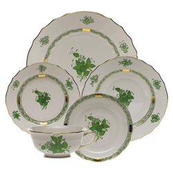 Herend Chinese Bouquet Green Five Piece Place Setting