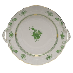 Herend Chinese Bouquet Green Chop Plate With Handles