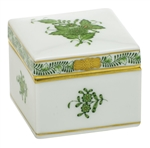 Herend Square Box Chinese Bouquet Green