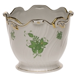Herend Chinese Bouquet Green Cachepot Ribbed