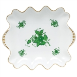Herend Chinese Bouquet Green Small Dish With Pearls