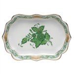 Herend Mini Scalloped Tray Chinese Bouquet Green