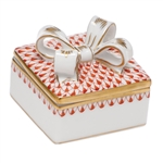 Herend China Box with Bow Rust Fishnet