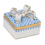 Herend China Box with Bow Blue Fishnet