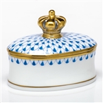 Herend Figurine Box With Crown Blue Fishnet