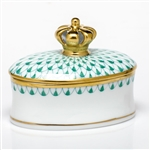 Herend Figurine Box With Crown Green Fishnet
