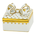 Herend Box with Bow Porcelain Figurine Gold Trimmed