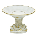 Herend Shell With Dolphin Stand Golden Edge