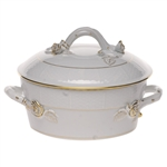 Herend Golden Edge Covered Vegetable Dish With Branch